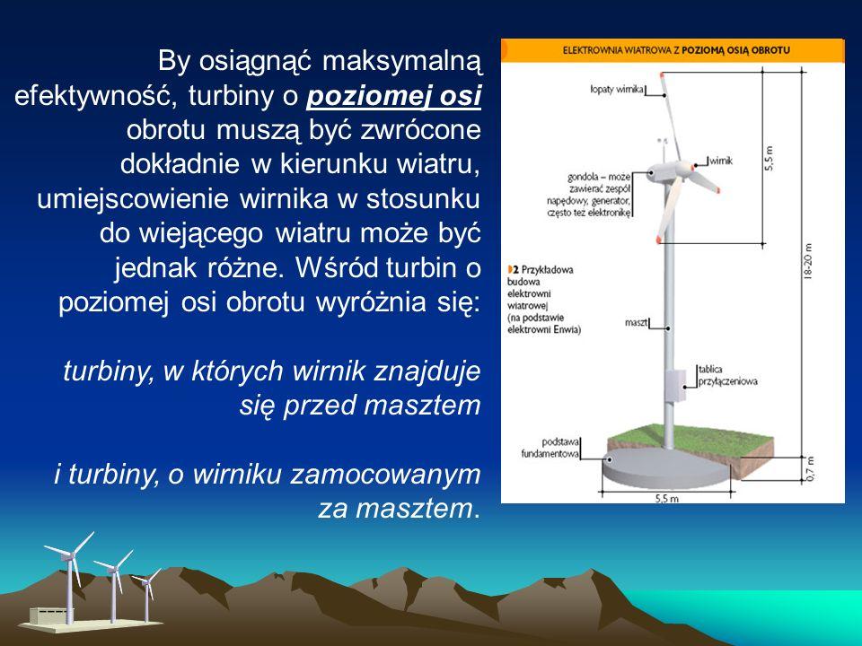 Rodzaje turbin Turbiny o poziomej osi obrotu Najbardziej rozpowszechnione są turbiny o poziomej osi obrotu, składające się z wysokiej wieży, zakończonej przypominającym śmigło wirnikiem.