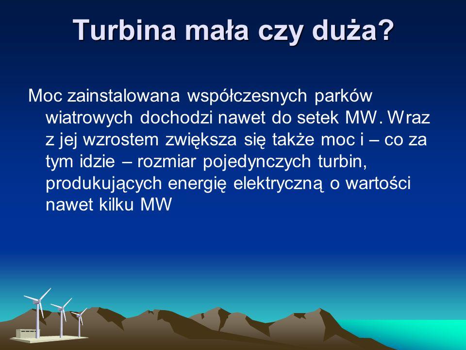 Turbina ta nie powinna być stosowana w rejonach o nienajlepszych warunkach wiatrowych, ponieważ nie może osiągać prędkości większej, niż prędkość wiej