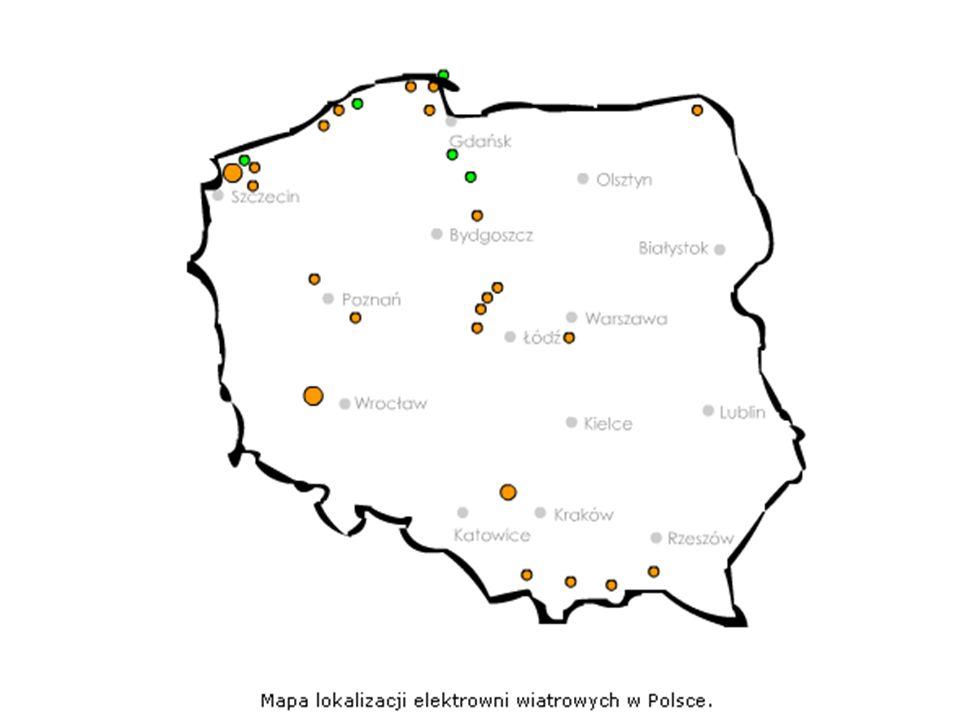 Energetyka wiatrowa w Polsce dzisiaj W Polsce działa obecnie 58 elektrowni wiatrowych o łącznej mocy 58 MW, są to elektrownie podłączone do sieci, opr