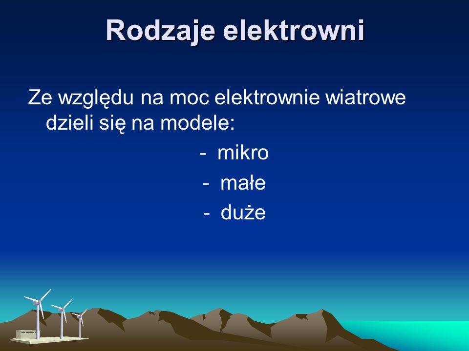 Rodzaje elektrowni Ze względu na moc elektrownie wiatrowe dzieli się na modele: -mikro -małe -duże