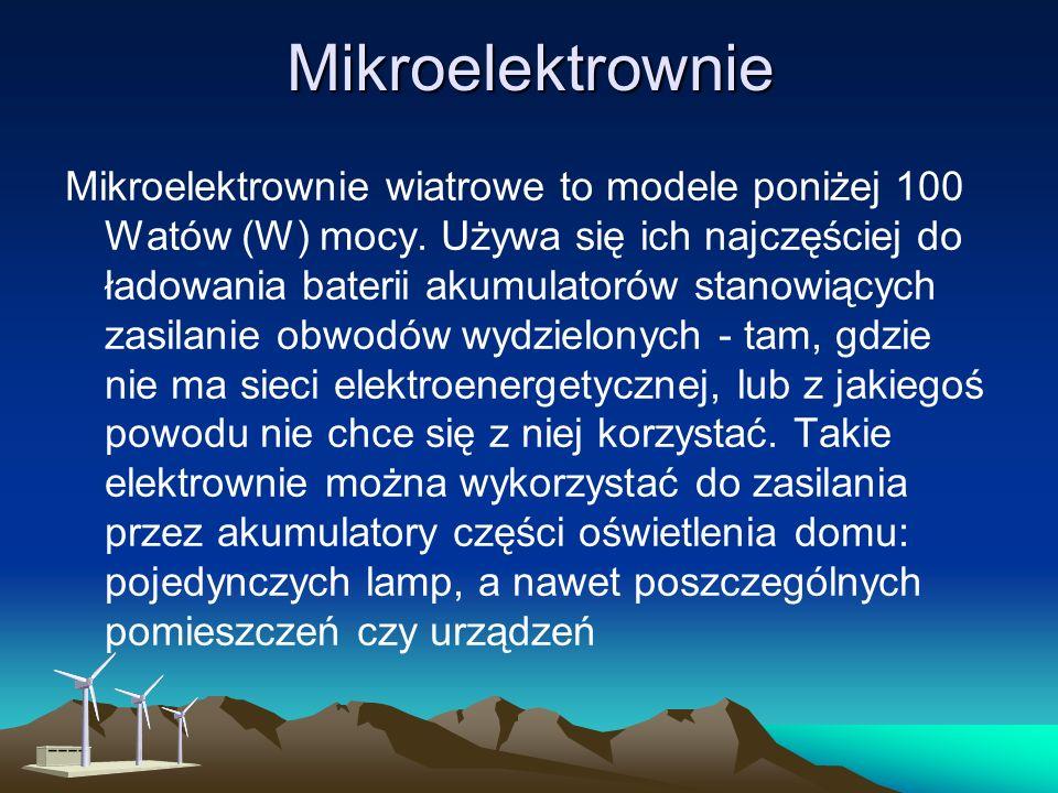 Mikroelektrownie Mikroelektrownie wiatrowe to modele poniżej 100 Watów (W) mocy.