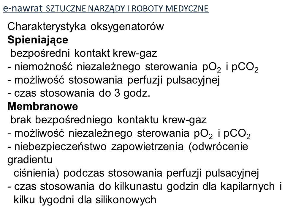 e-nawrat SZTUCZNE NARZĄDY I ROBOTY MEDYCZNE Charakterystyka oksygenatorów Spieniające bezpośredni kontakt krew-gaz - niemożność niezależnego sterowania pO 2 i pCO 2 - możliwość stosowania perfuzji pulsacyjnej - czas stosowania do 3 godz.