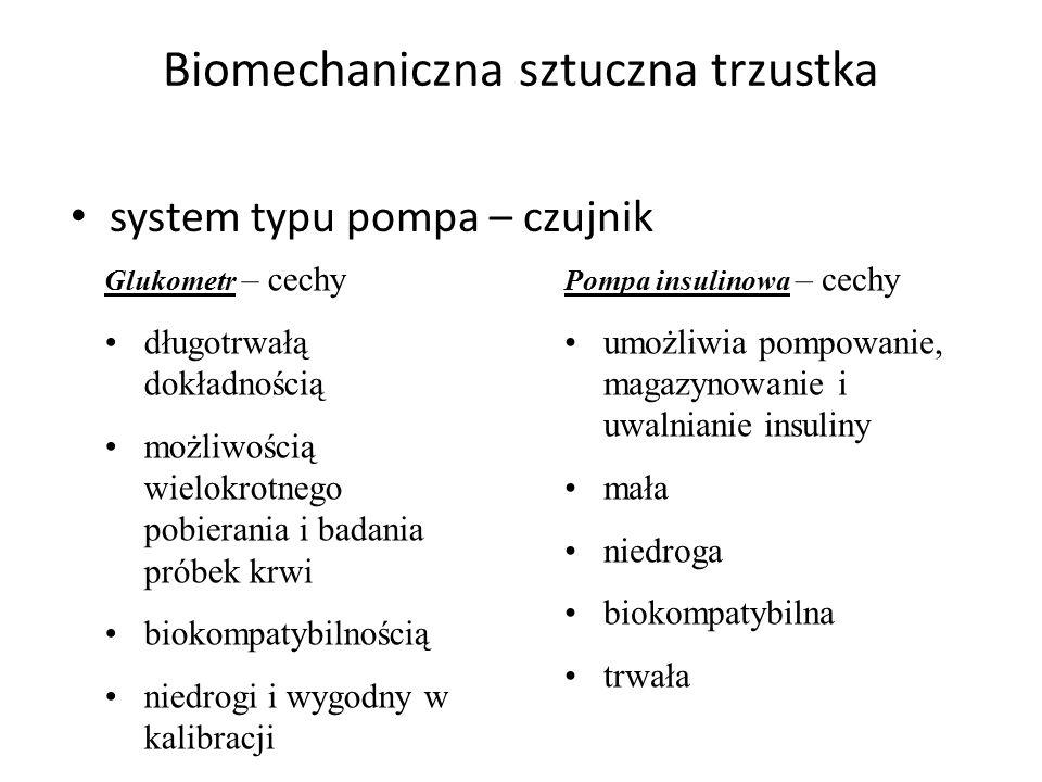 Biomechaniczna sztuczna trzustka system typu pompa – czujnik Glukometr – cechy długotrwałą dokładnością możliwością wielokrotnego pobierania i badania próbek krwi biokompatybilnością niedrogi i wygodny w kalibracji Pompa insulinowa – cechy umożliwia pompowanie, magazynowanie i uwalnianie insuliny mała niedroga biokompatybilna trwała