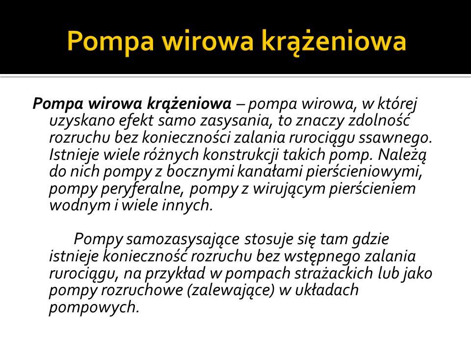 Pompa wirowa krążeniowa – pompa wirowa, w której uzyskano efekt samo zasysania, to znaczy zdolność rozruchu bez konieczności zalania rurociągu ssawnego.