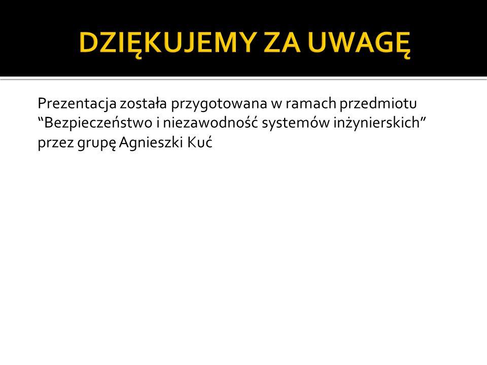 Prezentacja została przygotowana w ramach przedmiotu Bezpieczeństwo i niezawodność systemów inżynierskich przez grupę Agnieszki Kuć