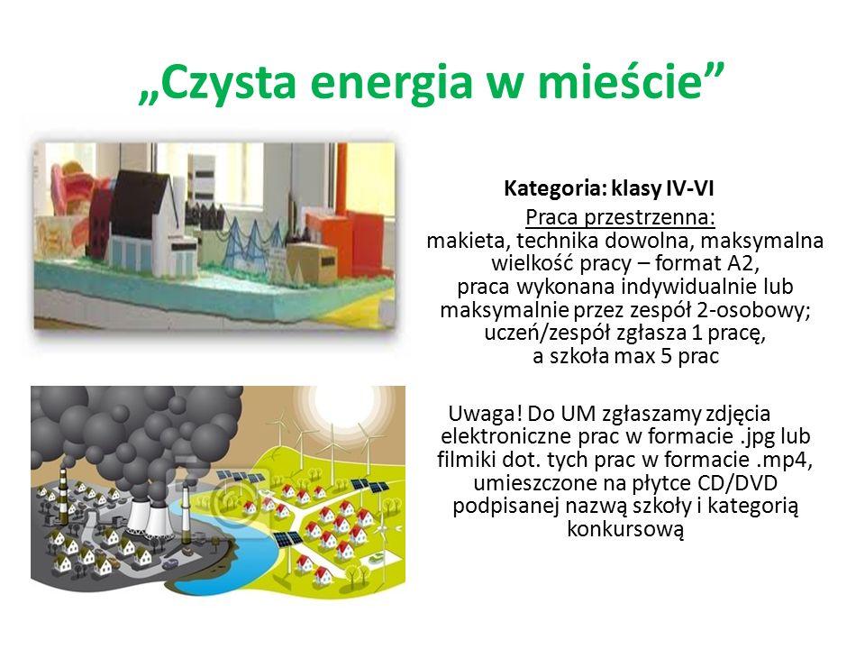 Cechy pracy konkursowej w obu kategoriach: praca powinna przedstawiać miasto z elementami infrastruktury: budynkami mieszkalnymi, oświatowymi, miejscami użyteczności publicznej, miejscami odpoczynku i rekreacji, komunikacją miejską, firmami produkcyjnymi, sklepami itd., zasilane energią ze źródeł odnawialnych takich jak: słońce, wiatr, woda, ciepło Ziemi, biomasa, praca może przedstawiać całe miasto lub jego określony obszar, na którym można umieścić poszczególne urządzenia produkujące energię elektryczną czy cieplną; ważne, aby praca przedstawiała miasto przyjazne dla środowiska naturalnego, pozbawione negatywnego wpływu mieszkańców na jego funkcjonowanie, praca powinna być realistyczna, ciekawa, estetyczna i w miarę możliwości samodzielna.