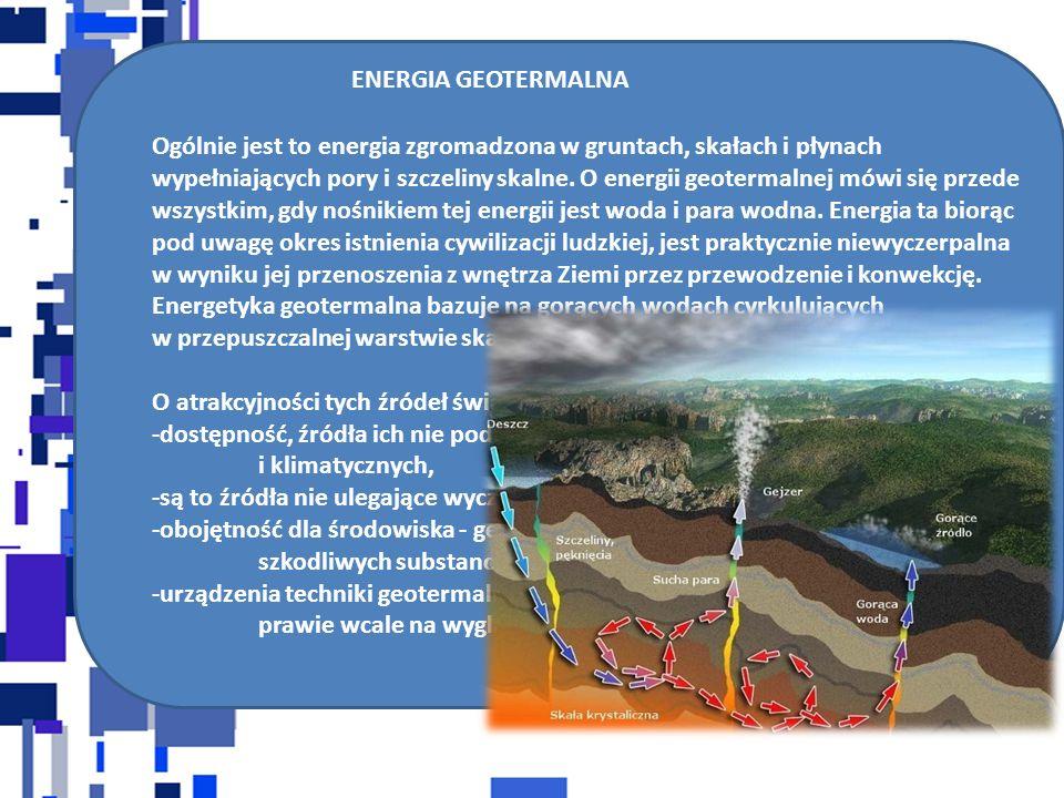 ENERGIA GEOTERMALNA Ogólnie jest to energia zgromadzona w gruntach, skałach i płynach wypełniających pory i szczeliny skalne. O energii geotermalnej m