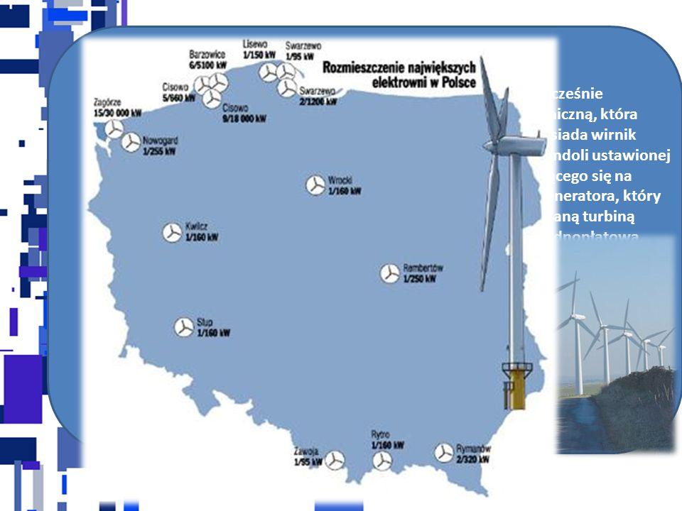 ENERGIA WIATRU Energia wiatru jest jednym z odnawialnych źródeł energii. Współcześnie stosowane turbiny wiatrowe przekształcają ją na energię mechanic