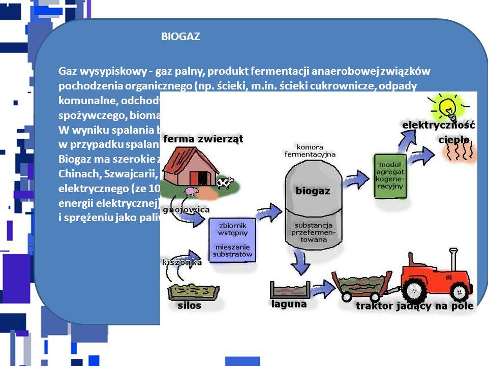 BIOGAZ Gaz wysypiskowy - gaz palny, produkt fermentacji anaerobowej związków pochodzenia organicznego (np. ścieki, m.in. ścieki cukrownicze, odpady ko
