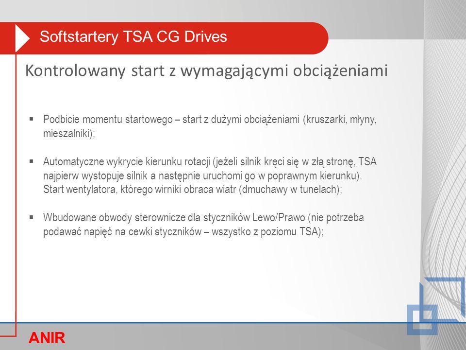 Softstartery TSA CG Drives ANIR O Kontrolowany start z wymagającymi obciążeniami  Podbicie momentu startowego – start z dużymi obciążeniami (kruszarki, młyny, mieszalniki);  Automatyczne wykrycie kierunku rotacji (jeżeli silnik kręci się w złą stronę, TSA najpierw wystopuje silnik a następnie uruchomi go w poprawnym kierunku).