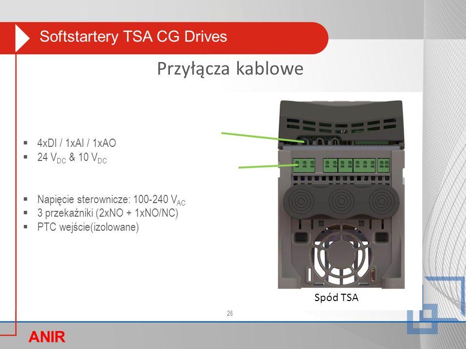 Softstartery TSA CG Drives ANIR O Przyłącza kablowe  4xDI / 1xAI / 1xAO  24 V DC & 10 V DC  Napięcie sterownicze: 100-240 V AC  3 przekaźniki (2xN