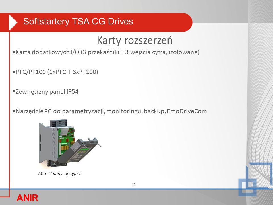 Softstartery TSA CG Drives ANIR O  Karta dodatkowych I/O (3 przekaźniki + 3 wejścia cyfra, izolowane)  PTC/PT100 (1xPTC + 3xPT100)  Zewnętrzny panel IP54  Narzędzie PC do parametryzacji, monitoringu, backup, EmoDriveCom Karty rozszerzeń Max.