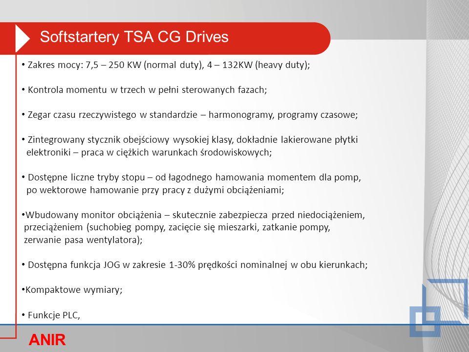 Softstartery TSA CG Drives ANIR O Zakres mocy: 7,5 – 250 KW (normal duty), 4 – 132KW (heavy duty); Kontrola momentu w trzech w pełni sterowanych fazac