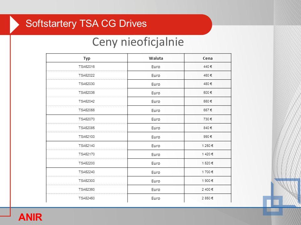 Softstartery TSA CG Drives ANIR O Ceny nieoficjalnie TypWalutaCena TSA52016 Euro 440 € TSA52022 Euro 460 € TSA52030 Euro 480 € TSA52036 Euro 500 € TSA