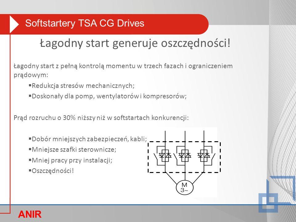 Softstartery TSA CG Drives ANIR O Łagodny start z pełną kontrolą momentu w trzech fazach i ograniczeniem prądowym:  Redukcja stresów mechanicznych;  Doskonały dla pomp, wentylatorów i kompresorów; Prąd rozruchu o 30% niższy niż w softstartach konkurencji:  Dobór mniejszych zabezpieczeń, kabli;  Mniejsze szafki sterownicze;  Mniej pracy przy instalacji;  Oszczędności.