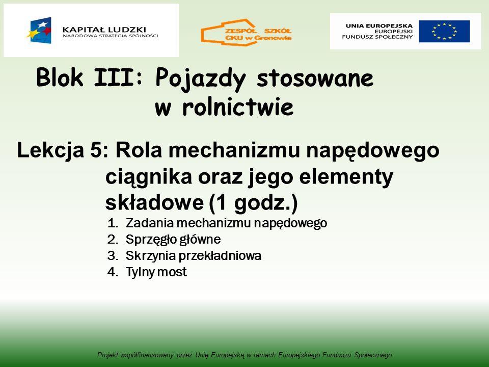 Blok III: Pojazdy stosowane w rolnictwie Projekt współfinansowany przez Unię Europejską w ramach Europejskiego Funduszu Społecznego Lekcja 5: Rola mechanizmu napędowego ciągnika oraz jego elementy składowe (1 godz.) 1.Zadania mechanizmu napędowego 2.Sprzęgło główne 3.Skrzynia przekładniowa 4.Tylny most