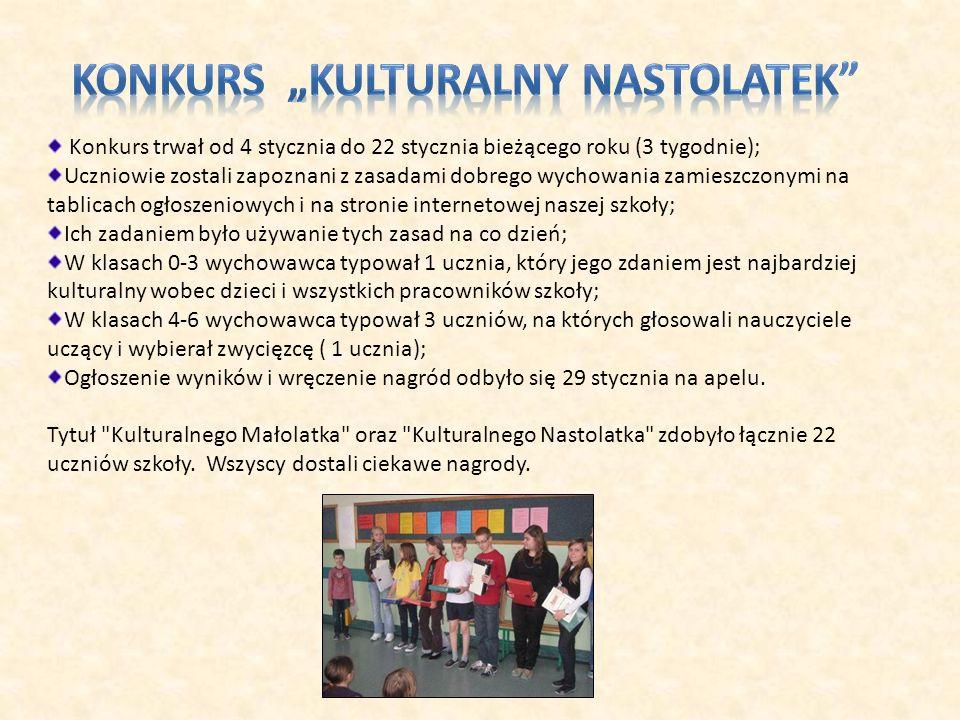 Konkurs trwał od 4 stycznia do 22 stycznia bieżącego roku (3 tygodnie); Uczniowie zostali zapoznani z zasadami dobrego wychowania zamieszczonymi na ta