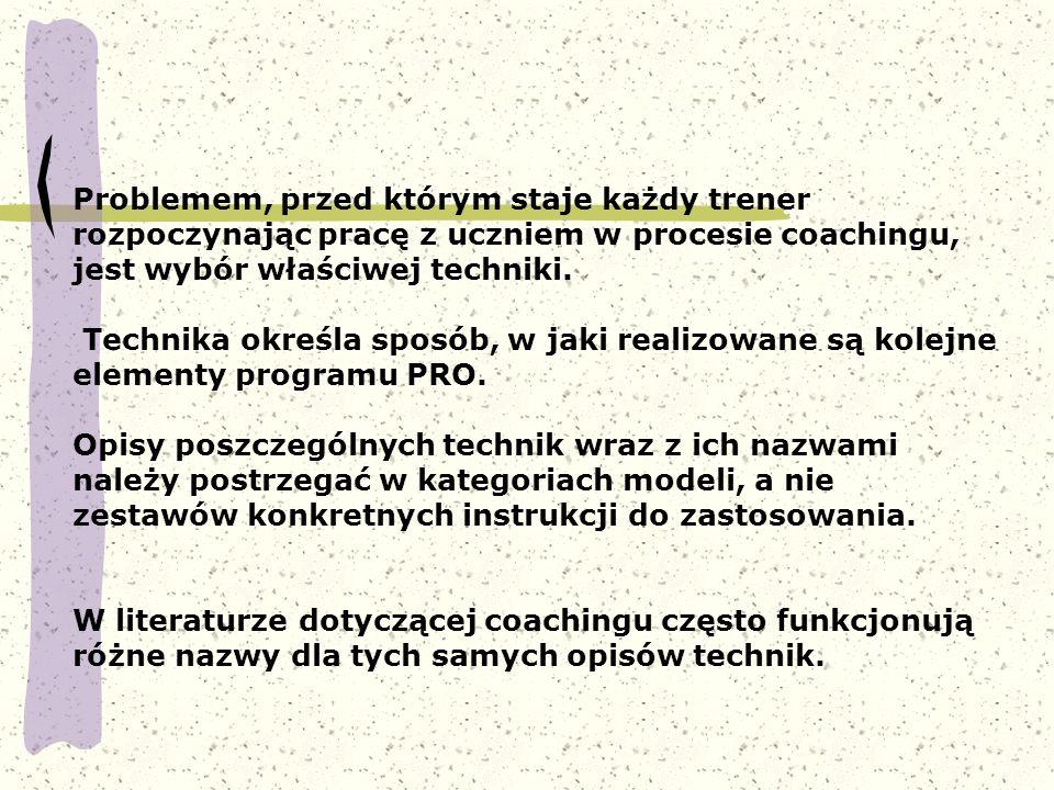Problemem, przed którym staje każdy trener rozpoczynając pracę z uczniem w procesie coachingu, jest wybór właściwej techniki. Technika określa sposób,