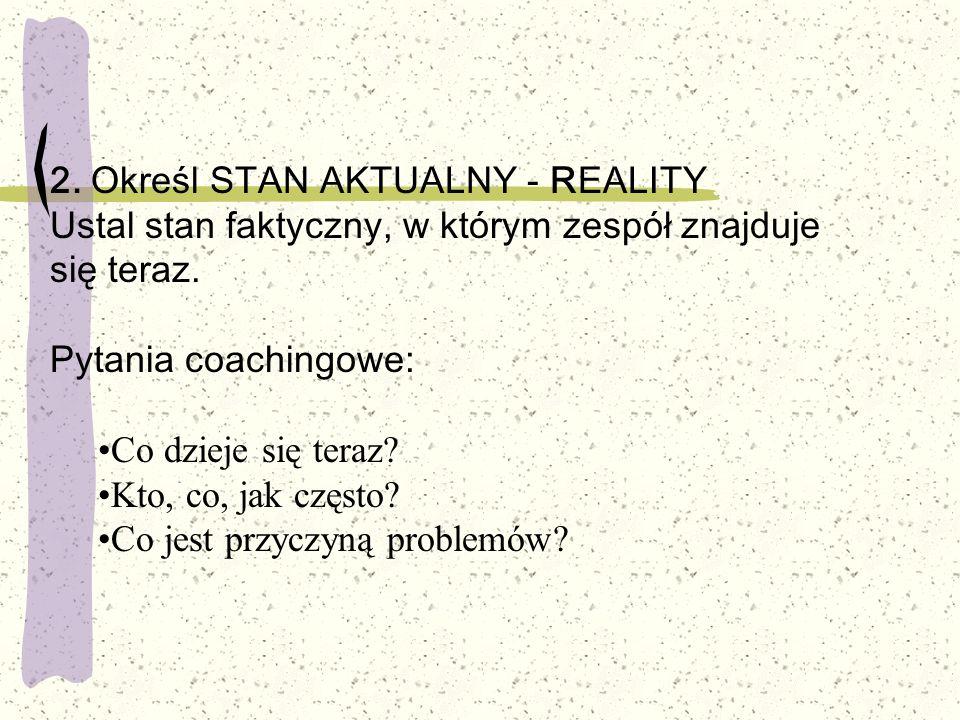 2. Określ STAN AKTUALNY - REALITY Ustal stan faktyczny, w którym zespół znajduje się teraz. Pytania coachingowe: Co dzieje się teraz? Kto, co, jak czę