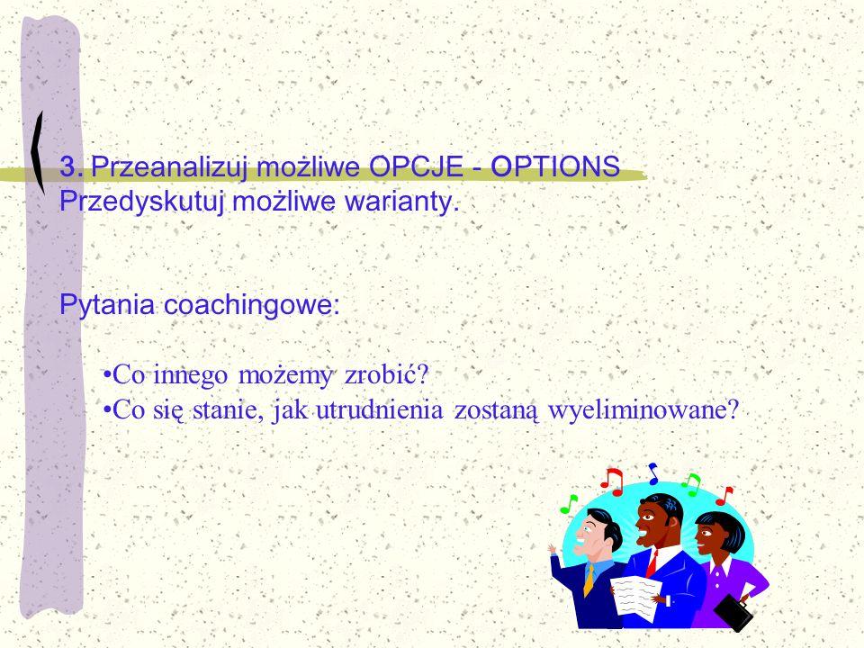 3. Przeanalizuj możliwe OPCJE - OPTIONS Przedyskutuj możliwe warianty. Pytania coachingowe: Co innego możemy zrobić? Co się stanie, jak utrudnienia zo
