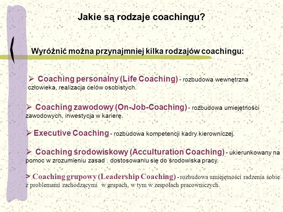 Jakie są rodzaje coachingu? Wyróżnić można przynajmniej kilka rodzajów coachingu:  Coaching personalny (Life Coaching) - rozbudowa wewnętrzna człowie