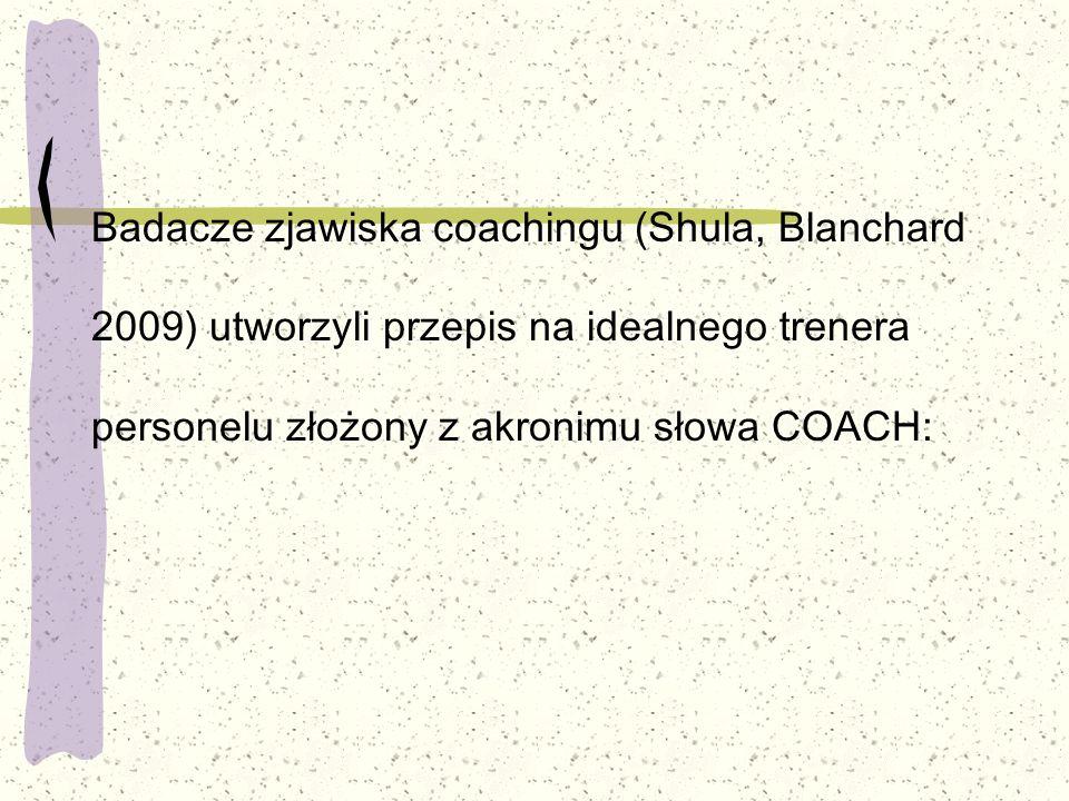 Badacze zjawiska coachingu (Shula, Blanchard 2009) utworzyli przepis na idealnego trenera personelu złożony z akronimu słowa COACH: