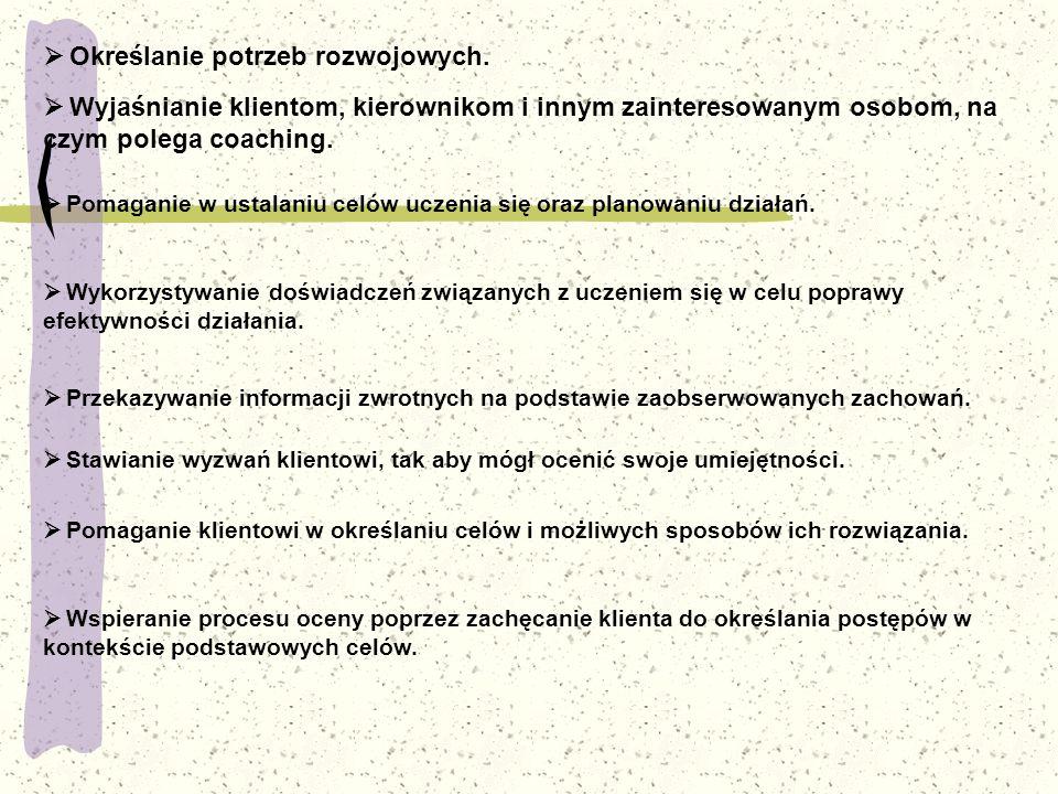 Jak działa coach w grupie?  Określanie potrzeb rozwojowych.  Wyjaśnianie klientom, kierownikom i innym zainteresowanym osobom, na czym polega coachi