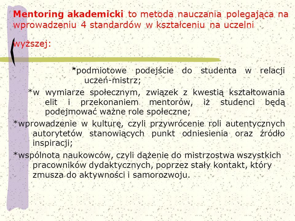 Mentoring akademicki to metoda nauczania polegająca na wprowadzeniu 4 standardów w kształceniu na uczelni wyższej: * podmiotowe podejście do studenta