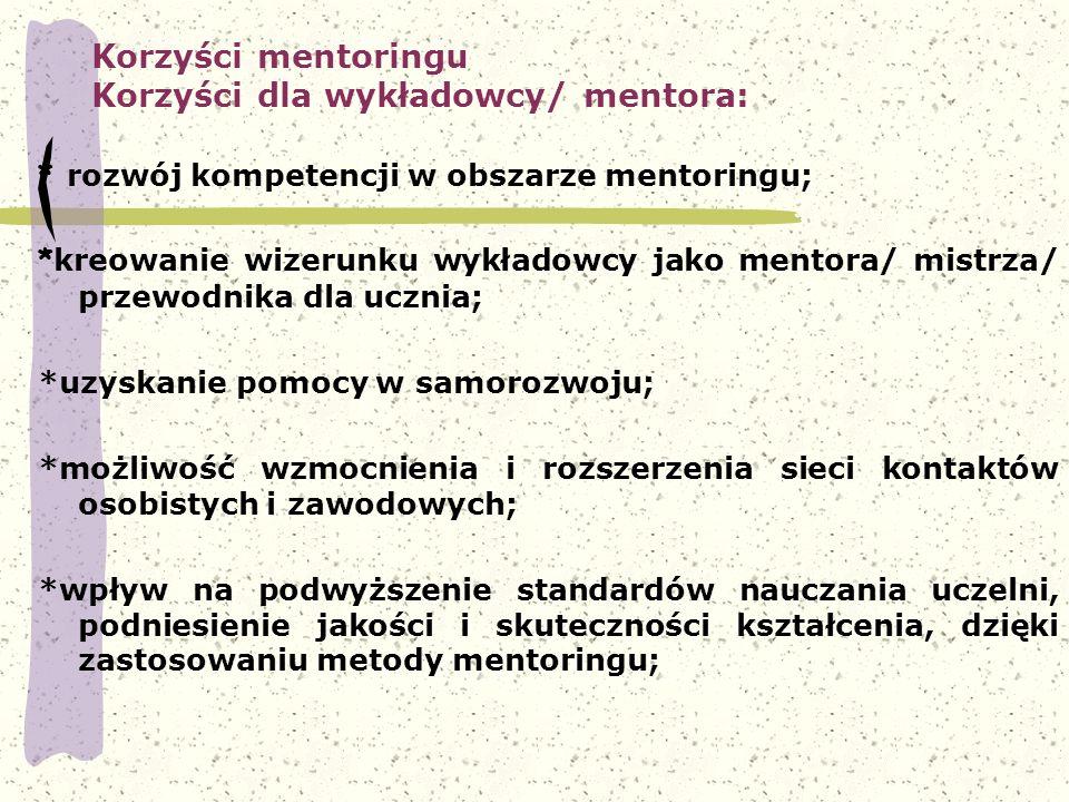 Korzyści mentoringu Korzyści dla wykładowcy/ mentora: * rozwój kompetencji w obszarze mentoringu; * kreowanie wizerunku wykładowcy jako mentora/ mistr