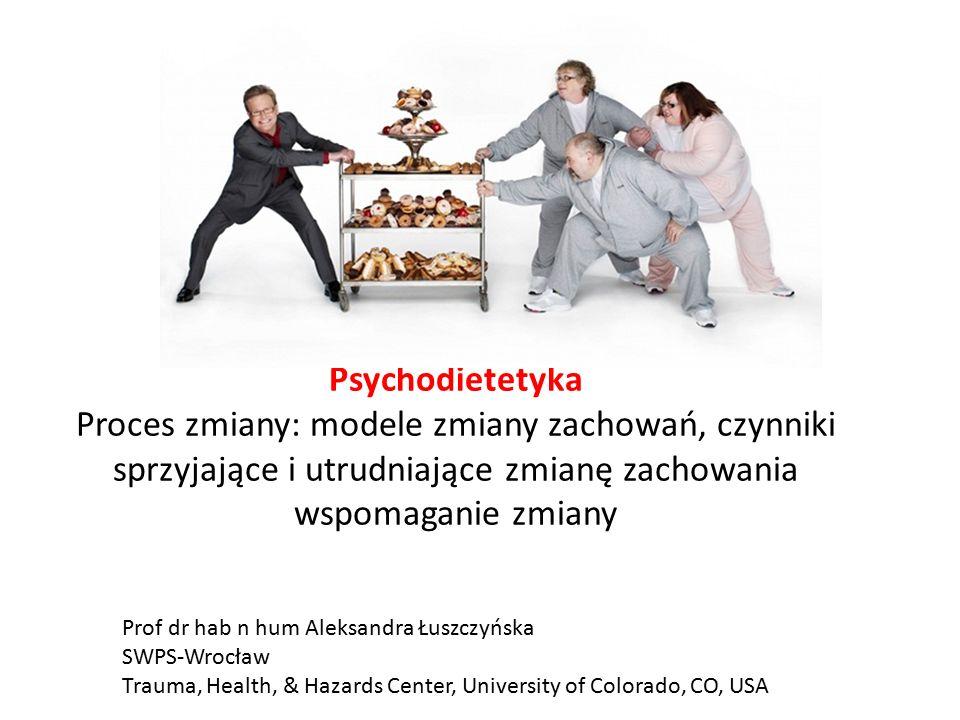 Psychodietetyka Proces zmiany: modele zmiany zachowań, czynniki sprzyjające i utrudniające zmianę zachowania wspomaganie zmiany Prof dr hab n hum Aleksandra Łuszczyńska SWPS-Wrocław Trauma, Health, & Hazards Center, University of Colorado, CO, USA