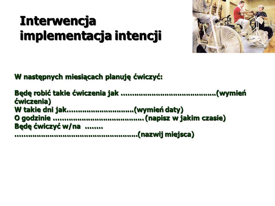 Interwencja implementacja intencji W następnych miesiącach planuję ćwiczyć: Będę robić takie ćwiczenia jak............................................(wymień ćwiczenia) W takie dni jak...............................(wymień daty) O godzinie..........................................