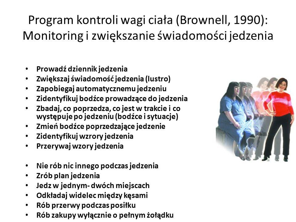 Program kontroli wagi ciała (Brownell, 1990): Monitoring i zwiększanie świadomości jedzenia Prowadź dziennik jedzenia Zwiększaj świadomość jedzenia (lustro) Zapobiegaj automatycznemu jedzeniu Zidentyfikuj bodźce prowadzące do jedzenia Zbadaj, co poprzedza, co jest w trakcie i co występuje po jedzeniu (bodźce i sytuacje) Zmień bodźce poprzedzające jedzenie Zidentyfikuj wzrory jedzenia Przerywaj wzory jedzenia Nie rób nic innego podczas jedzenia Zrób plan jedzenia Jedz w jednym- dwóch miejscach Odkładaj widelec między kęsami Rób przerwy podczas posiłku Rób zakupy wyłącznie o pełnym żołądku