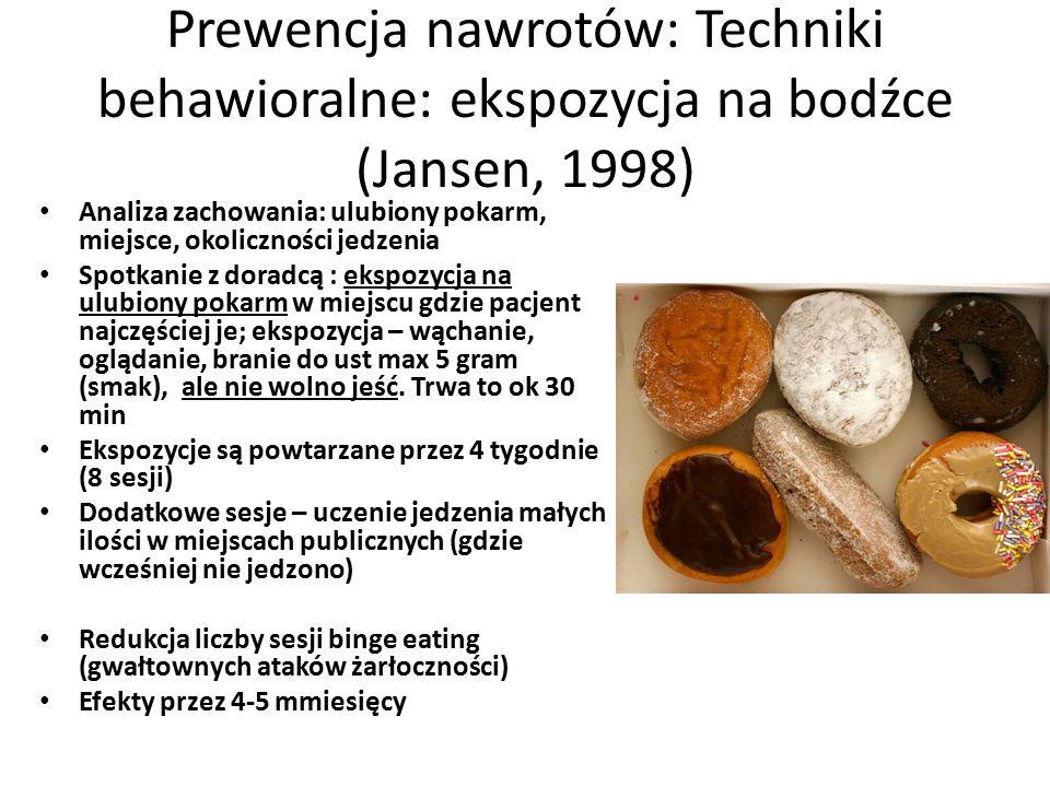 Prewencja nawrotów: Techniki behawioralne: ekspozycja na bodźce (Jansen, 1998) Analiza zachowania: ulubiony pokarm, miejsce, okoliczności jedzenia Spotkanie z doradcą : ekspozycja na ulubiony pokarm w miejscu gdzie pacjent najczęściej je; ekspozycja – wąchanie, oglądanie, branie do ust max 5 gram (smak), ale nie wolno jeść.
