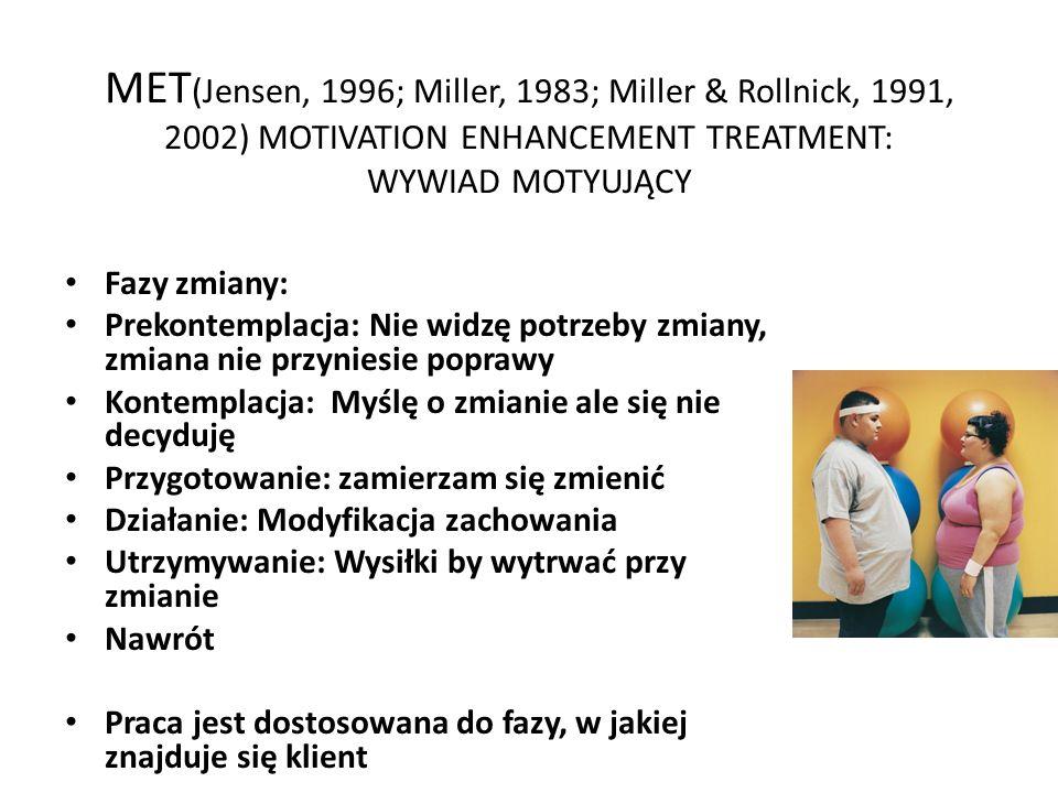 MET (Jensen, 1996; Miller, 1983; Miller & Rollnick, 1991, 2002) MOTIVATION ENHANCEMENT TREATMENT: WYWIAD MOTYUJĄCY Fazy zmiany: Prekontemplacja: Nie widzę potrzeby zmiany, zmiana nie przyniesie poprawy Kontemplacja: Myślę o zmianie ale się nie decyduję Przygotowanie: zamierzam się zmienić Działanie: Modyfikacja zachowania Utrzymywanie: Wysiłki by wytrwać przy zmianie Nawrót Praca jest dostosowana do fazy, w jakiej znajduje się klient