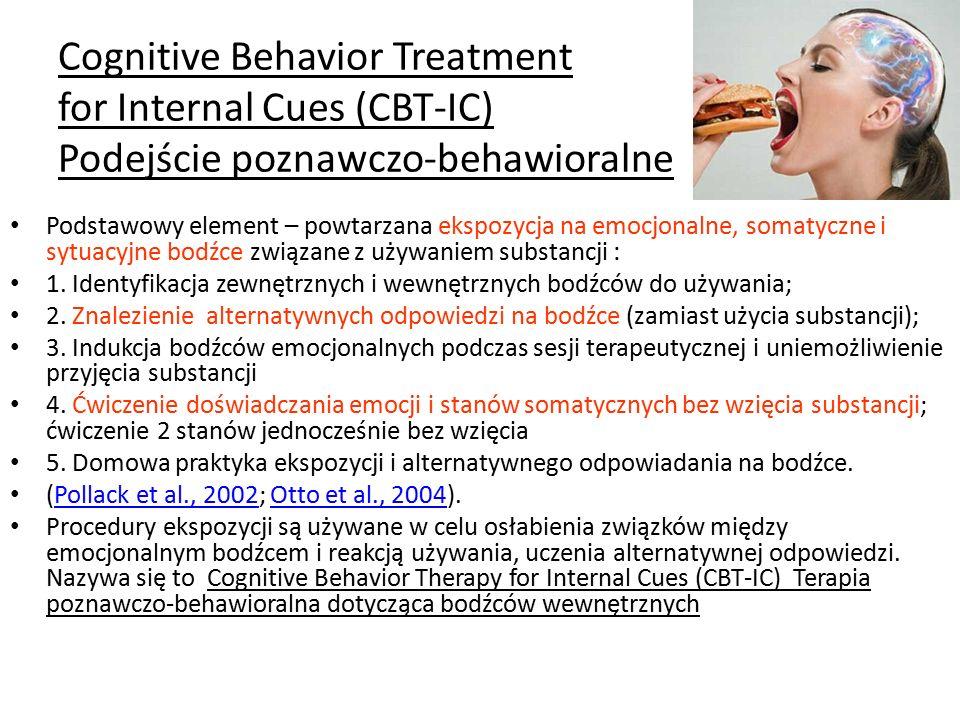 Cognitive Behavior Treatment for Internal Cues (CBT-IC) Podejście poznawczo-behawioralne Podstawowy element – powtarzana ekspozycja na emocjonalne, somatyczne i sytuacyjne bodźce związane z używaniem substancji : 1.