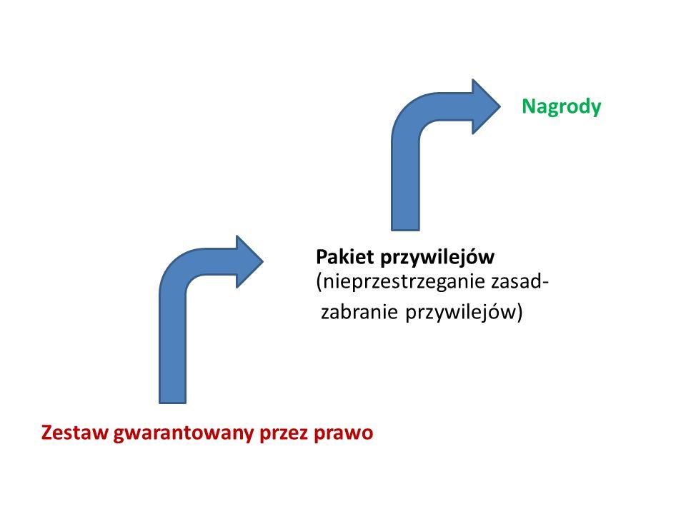 Nagrody Pakiet przywilejów (nieprzestrzeganie zasad- zabranie przywilejów) Zestaw gwarantowany przez prawo