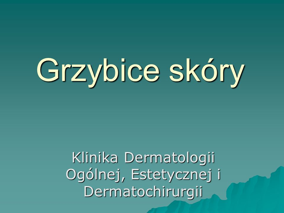 Grzybice skóry owłosionej Grzybica woszczynowa owłosionej skóry głowy  wywoływana jest przez grzyb trichophyton, którego zarodniki ułożone są bezładnie wewnątrz włosa razem z pęcherzykami powietrza  zmiany chorobowe mają charakter tarczek woszczynowych, o średnicy od kilku mm o kilku cm, żółtym zabarwieniu i nieprzyjemnym zapachu  po ich usunięciu pozostają blizny i trwałe wyłysienie  włosy są matowe, szorstkie i suche  istnieją nietypowe odmiany beztarczkowe: łupieżopodobna i łuszczycopodobna  rozpoznanie - na podstawie badania mikologicznego bezpośredniego i hodowli