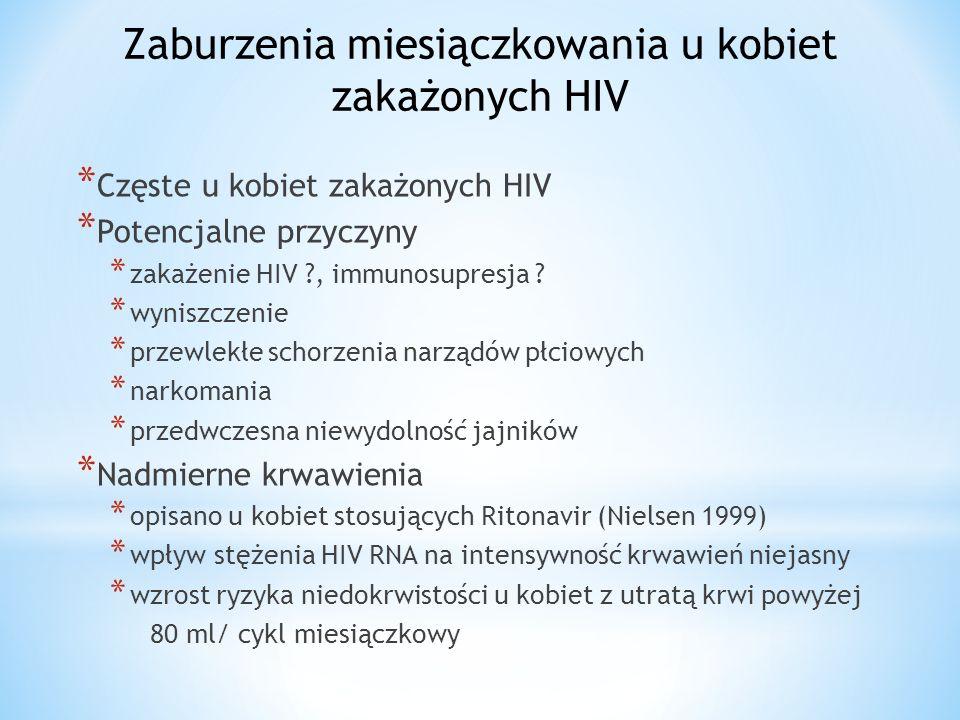 Zaburzenia miesiączkowania u kobiet zakażonych HIV * Częste u kobiet zakażonych HIV * Potencjalne przyczyny * zakażenie HIV , immunosupresja .