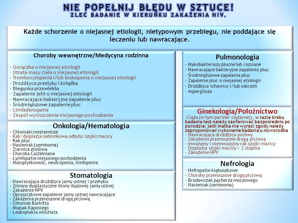 Choroby wewnętrzne/Medycyna rodzinna - Gorączka o niejasnej etiologii - Utrata masy ciała o niejasnej etiologii - Trombocytopenia i/lub leukopenia o niejasnej etiologii - Drożdżyca przełyku i żołądka - Biegunka przewlekła - Zapalenie jelit o niejasnej etiologii - Nawracaja ̨ ce bakteryjne zapalenie płuc - Sródmiąższowe zapalenie płuc - Limfadenopatie - Zespół wyniszczenia niejasnego pochodzenia Ginekologia/Położnictwo -Ciąża (w tym partner ciężarnej), w razie braku badania test należy zaoferować bezpośrednio po porodzie; jeśli matka nie wyrazi zgody należy zaproponować wykonanie badania u noworodka - Nawracająca drożdżyca pochwy - Zakażenia przenoszone droga ̨ płciowa ̨ - Inwazyjny i nieinwazyjny rak szyjki macicy - Dysplazja szyjki macicy > 2 stopnia - Zakażenie HPV Pulmonologia - Mykobakteriozy płucne lub rozsiane - Nawracające bakteryjne zapalenia płuc - Sródmiąższowe zapalenia płuc - Zapalenie płuc o niejasnej etiologii - Drożdżyca tchawicy i/lub oskrzeli - Aspergiloza Onkologia/Hematologia - Chłoniaki nieziarnicze - Rak/dysplazja nabłonkowa odbytu/szyjki macicy - Rak płuc - Nasieniak (seminoma) - Ziarnica złosliwa - Choroba Castelmana - Lymfopatie niejasnego pochodzenia - Małopłytkowość, neutropenia, limfopenia Stomatologia - Nawracająca drożdżyca jamy ustnej i przełyku - Zmiany dysplastyczne błony śluzowej jamy ustnej - Zakażenie HPV - Opryszczkowe zapalenie jamy ustnej nawracające - Zakażenia przenoszone drogą płciową - Chłoniak Burkitta - Mięsak Kaposiego - Leukoplakia włochata Nefrologia - Nefropatie kłębuszkowe - Choroby przenoszone drogą płciową - Brodawczak pęcherza moczowego - Nasieniak (seminoma) Każde schorzenie o niejasnej etiologii, nietypowym przebiegu, nie poddające się leczeniu lub nawracające.