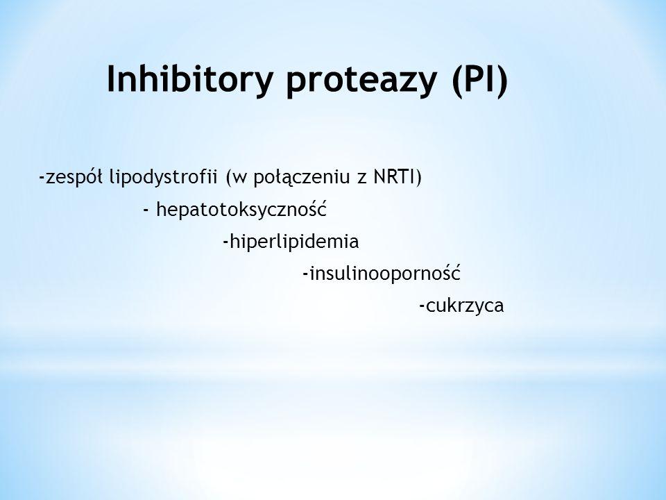 -zespół lipodystrofii (w połączeniu z NRTI) - hepatotoksyczność -hiperlipidemia -insulinooporność -cukrzyca Inhibitory proteazy (PI)