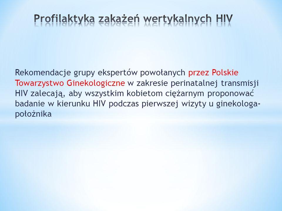 Rekomendacje grupy ekspertów powołanych przez Polskie Towarzystwo Ginekologiczne w zakresie perinatalnej transmisji HIV zalecają, aby wszystkim kobietom ciężarnym proponować badanie w kierunku HIV podczas pierwszej wizyty u ginekologa- położnika
