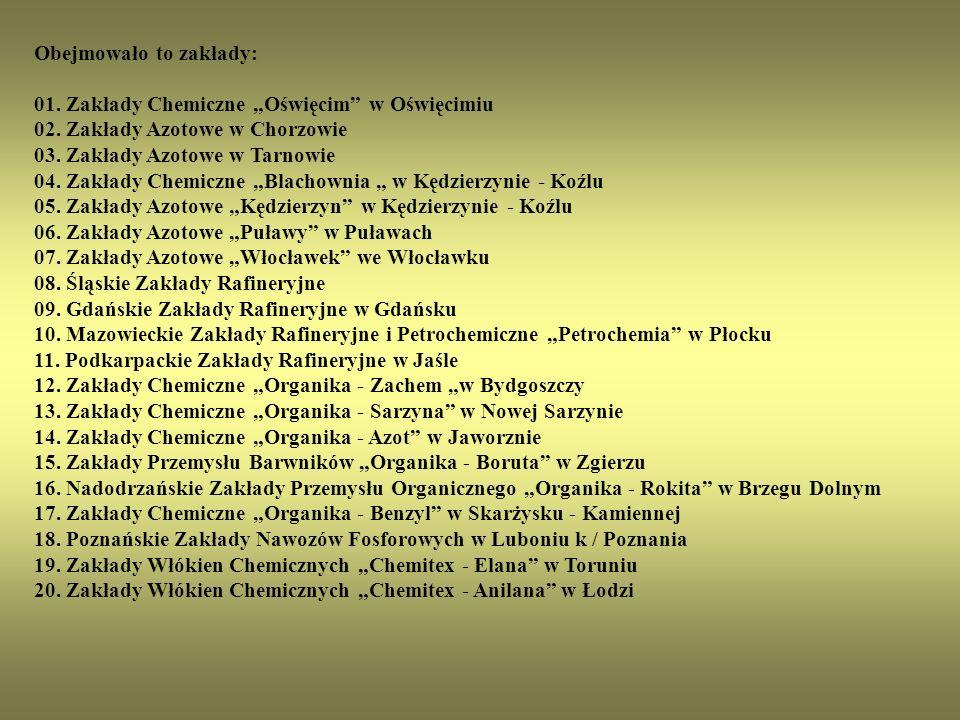 """Obejmowało to zakłady: 01. Zakłady Chemiczne """"Oświęcim w Oświęcimiu 02."""