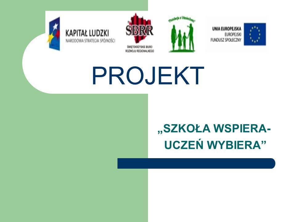 """PROJEKT """"SZKOŁA WSPIERA- UCZEŃ WYBIERA"""""""