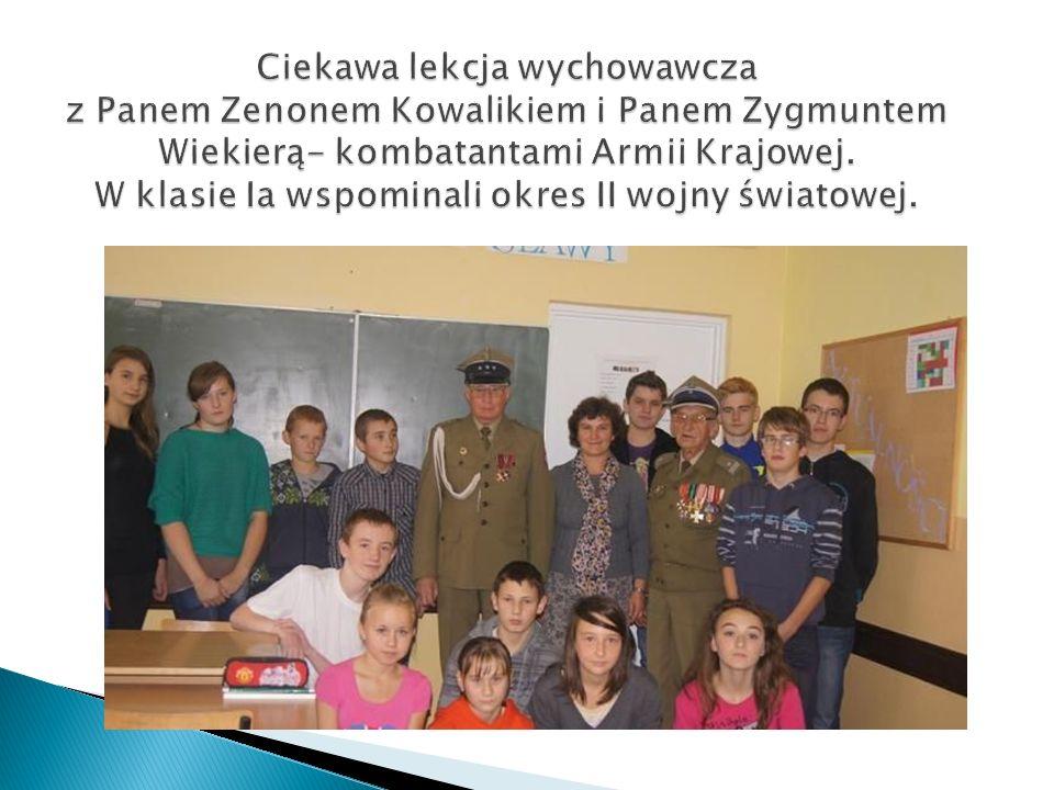 Ciekawa lekcja wychowawcza z Panem Zenonem Kowalikiem i Panem Zygmuntem Wiekierą- kombatantami Armii Krajowej. W klasie Ia wspominali okres II wojny ś