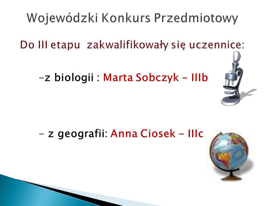 Wojewódzki Konkurs Przedmiotowy Do III etapu zakwalifikowały się uczennice: -z biologii : Marta Sobczyk - IIIb - z geografii: Anna Ciosek - IIIc