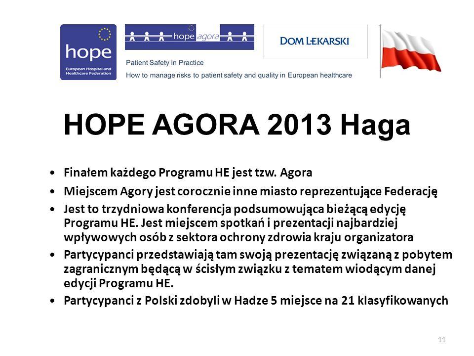 11 HOPE AGORA 2013 Haga Finałem każdego Programu HE jest tzw.