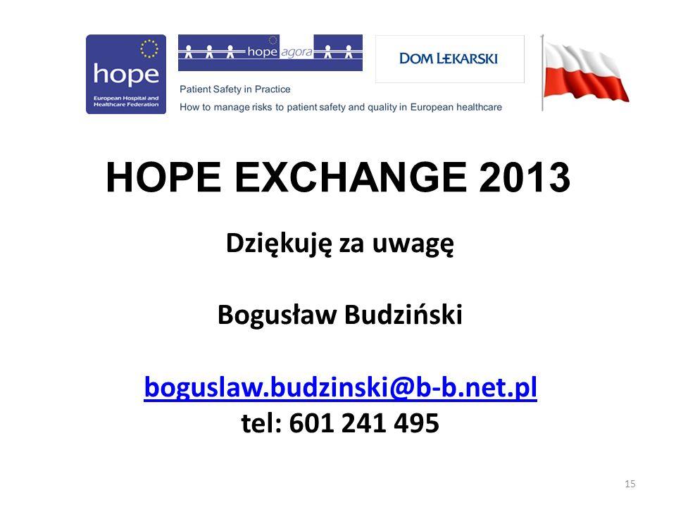 15 HOPE EXCHANGE 2013 Dziękuję za uwagę Bogusław Budziński boguslaw.budzinski@b-b.net.pl tel: 601 241 495