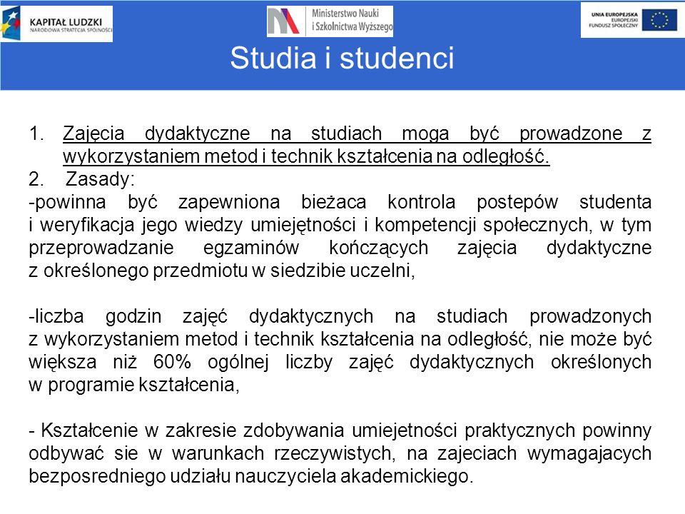 Studia i studenci 1.Zajęcia dydaktyczne na studiach moga być prowadzone z wykorzystaniem metod i technik kształcenia na odległość. 2. Zasady: -powinna
