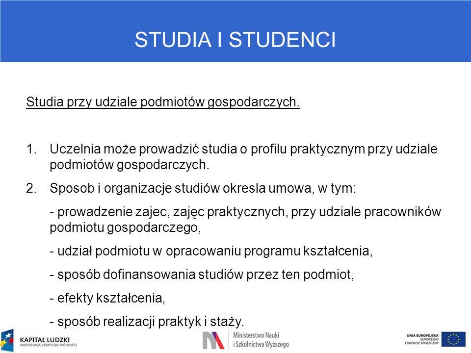STUDIA I STUDENCI Studia przy udziale podmiotów gospodarczych. 1.Uczelnia może prowadzić studia o profilu praktycznym przy udziale podmiotów gospodarc