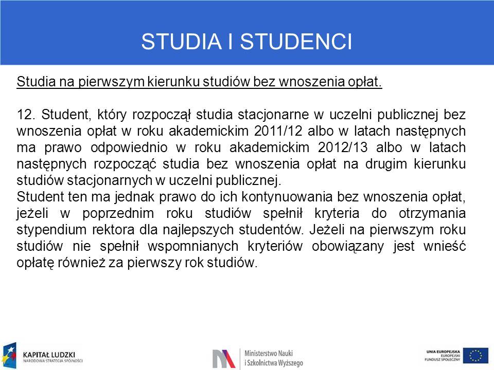 STUDIA I STUDENCI Studia na pierwszym kierunku studiów bez wnoszenia opłat. 12. Student, który rozpoczął studia stacjonarne w uczelni publicznej bez w